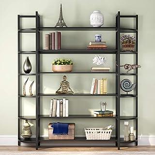 Tribesigns Triple Wide 6-Shelf Bookshelves, 6-Tier Large Etagere Bookcase Bookshelves Storage and...