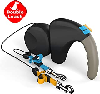 Double Retractable Dog Leash 360° Tangle-Free Dual Doggie Pet Leash for Walking 2 Dogs Up to 50lbs Each,10ft Strong Reflective Polyester Ribbon with Anti-Slip Handle,One-Handed Brake,Pause,Lock- Black