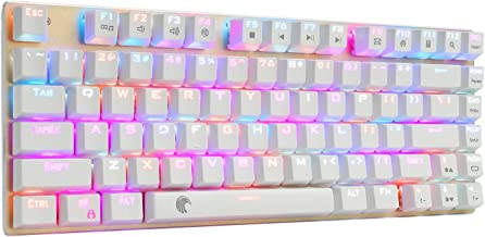 Z-88 60% RGB Mechanical Gaming Keyboard, Blue Switch, LED Backlit, Waterproof, Compact 81 Keys Anti-Ghosting for Mac PC, Gold + White
