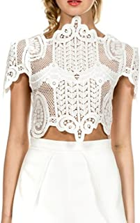 Simplee Women's Short Sleeve Sheer Mesh Floral Lace Crochet Crop Top Sexy Scallop Blouse