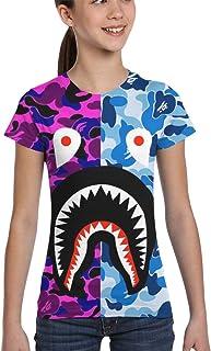 Shark Half Gray Camo Girl T-Shirt Print Tee Youth Fashion Top