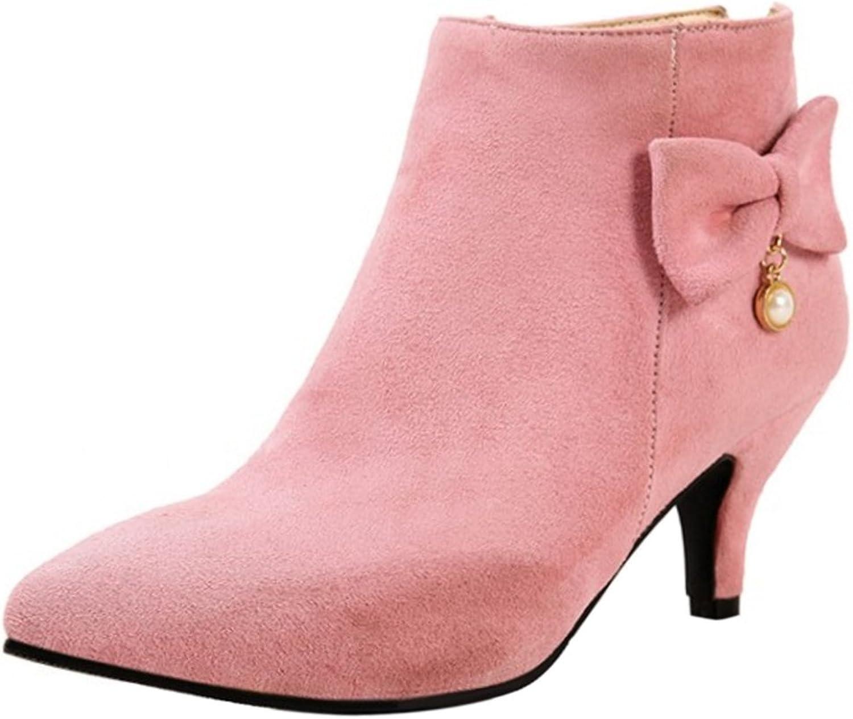 KemeKiss Women Fashion Bowknot Kitten Heel Winter Dress Boots Extra Size