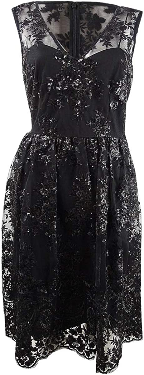 Adrianna Papell Womens Lace Sequined Cocktail Dress Black 6