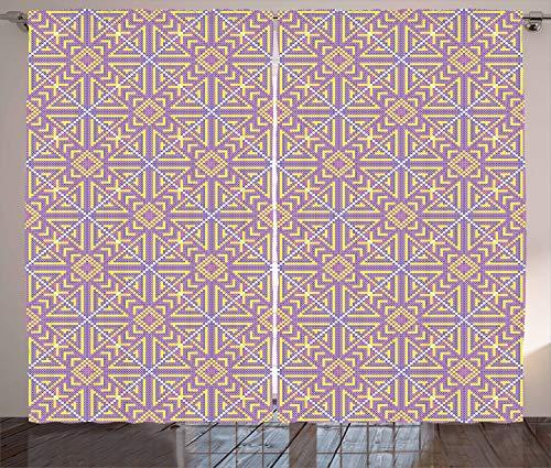 ABAKUHAUS aztekisch Rustikaler Gardine, Russische Folkloremotive, Schlafzimmer Kräuselband Vorhang mit Schlaufen und Haken, 280 x 260 cm, Mehrfarbig