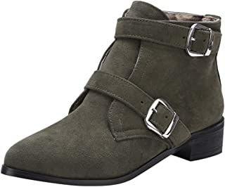QueenMMWomen's Tucker Ankle Boot Side Zipper Low Heels Western Cowboy Bootie