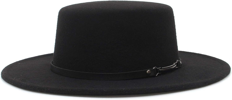 EOZY Women Men Classic Felt Fedora Hat Wide Brim Flat Top Jazz Panama Hat Casual Party Church Hat