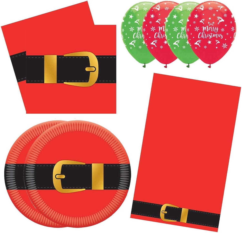 PartyPartyCompany Santa Belt Christmas Essential Tableware Set (48 People)