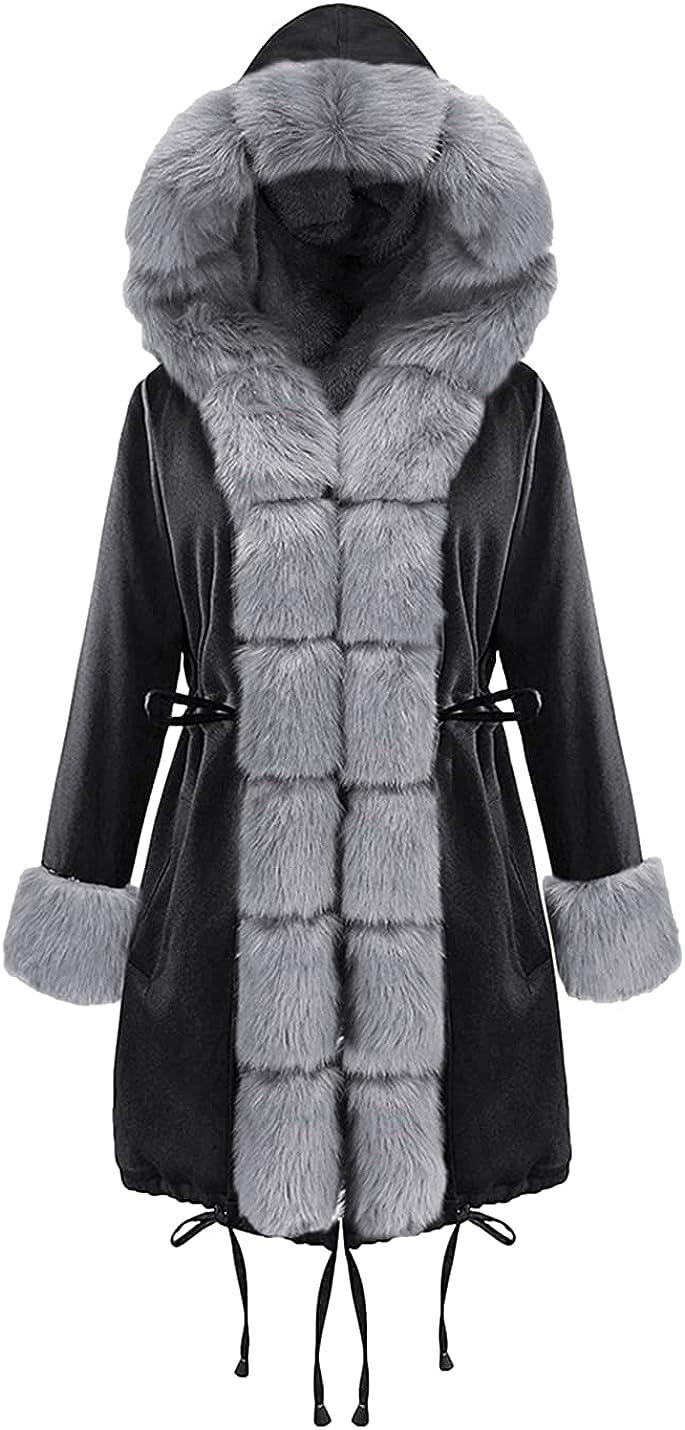 SeekMe Women's Plus Oversized Quilted Winter Parka Overcoat Fur Collar Long Hooded Jacket Outerwear