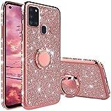 Compatibile con Cover Samsung Galaxy A21S, Glitter Lusso Strass Diamante Bling Diamanti Custodia con 360 Gradi Rotante Supporto Ring Kickstand Protezione Morbido Silicone TPU - Oro Rosa