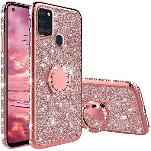 Funda para Samsung Galaxy A21S, Glitter Brillante Diamante con 360 Grado Anillo Kickstand Ultra Delgada Premium Fina Resistente Silicona TPU Doble Capa Anti Choques Protectora Carcasa - Rosa