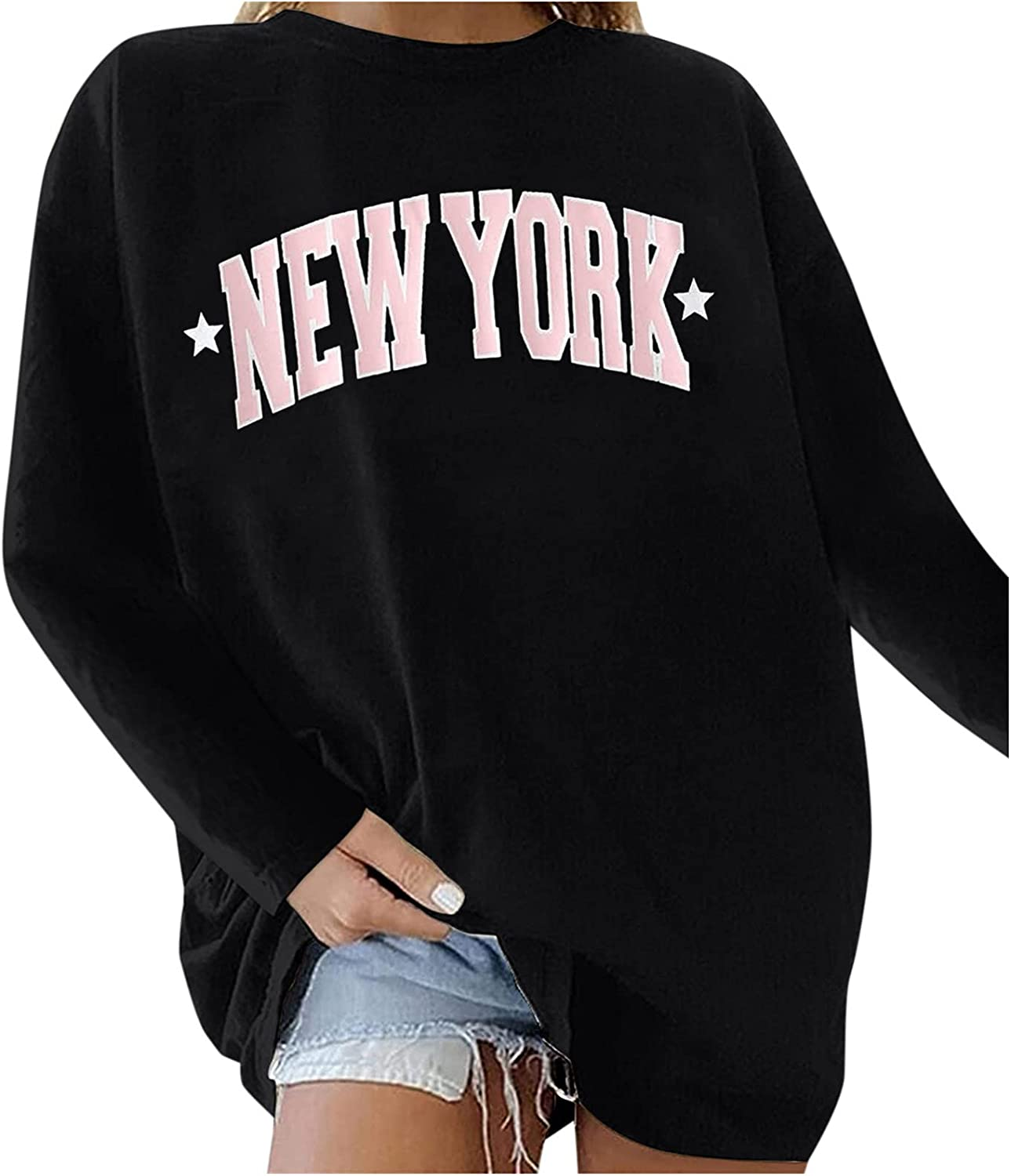 UOCUFY Sweatshirts for Women, Womens Casual Long Sleeve Sweatshirts Tops Cute Graphic Crewneck Pullover Blouses