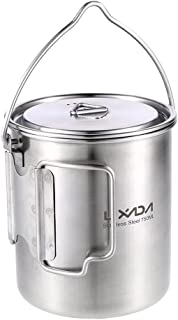 Lixada Camping Cup Pot with Foldable Handles and Lid - Ultralight Titanium&Stainless Steel Designed for Outdoor Camping Hi...