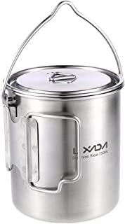 Lixada Camping Cup Pot with Foldable Handles and Lid - Ultralight Titanium&Stainless Steel Designed for Outdoor Camping Hiking Backpacking