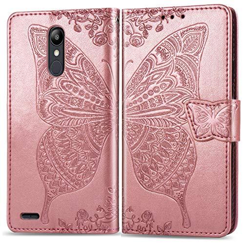 Docrax LG K9 Handyhülle, Hülle Leder Case mit Standfunktion Magnetverschluss Flipcase Klapphülle kompatibel mit LG K9 2018 - DOSDA030761 Rosa Gold