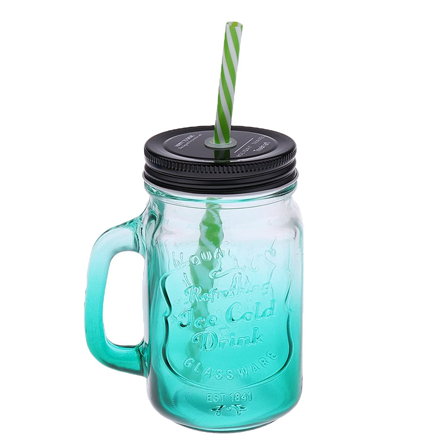 マーベル政治家の別れるSONONIA 高品質ガラス ジャー ドリンク カクテル ストロー付き 480ml 全5色 ビンテージ - 緑