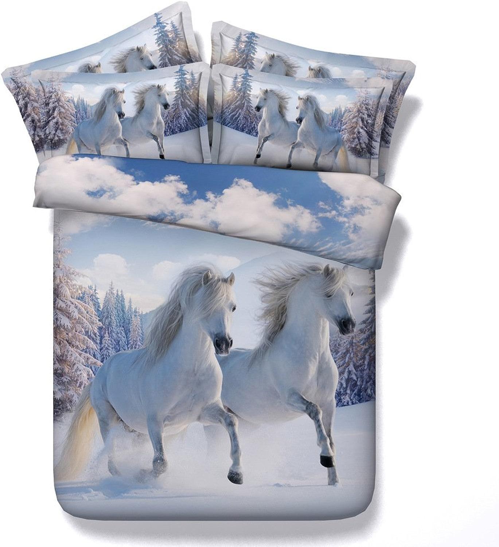 ZJXBEDDING Literie 3D,Ensembles Housses Couette Imprimés Snow Horse 3 Pièces 100% Microfibre (1 Housse De Couette + 2 Taies d'oreiller) 200  225CM