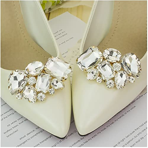 Casualfashion 2Pcs Luxury Crystal Shoe Clips Removable Rinestone Shoe  Buckles Decorative Shoe Accessories for Women a2abd546f5b2
