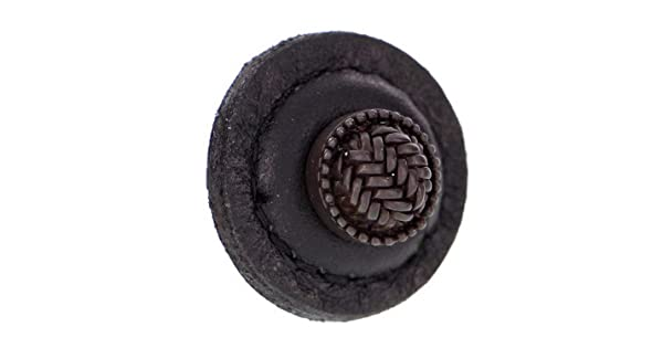 Vicenza Designs K1279 Cestino Knob with Black Round Leather Large Oil-Rubbed Bronze