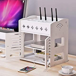 AILZNN Cajas De Almacenamiento De Enrutador WiFi, Router De WiFi Televisión Caja Fijar La Caja De Encima Sistema De Caja De Almacenamiento De Equipos De Transmisión De Medios