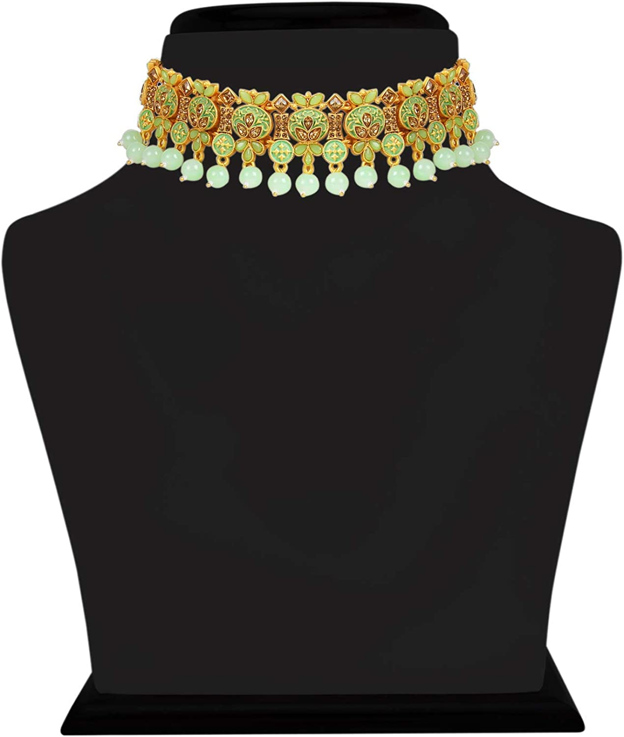 I Jewels Gold Plated Indian Traditional Enamel Work Pearl Choker Necklace Set with Earrings & Maang Tikka For Women (M4122)