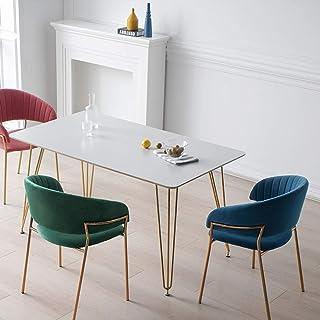 CHENSHJI Sillas de Cocina Cena De La Silla con Brazos Rosa De Latón 61 X 49,5 X 76,5 CM Juego De Cocina De 4 con Terciopelo Fino DiningTable (Color : Blue, Size : 61X49.5X76.5cm)