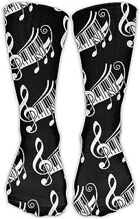Hunter qiang, Classics - Calcetines de compresión para hombre y mujer, 50 cm, color negro