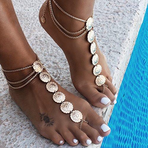 Kercisbeauty Boho Halo Gold Carve Blume Anhänger Fußkettchen Fußkettchen Strand Armband Zubehör Verstellbare Baumwolle Makramee Kette Handarbeit Einzigartiges Vintage Fuß Boho Armband für Sie