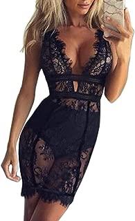Women Dress, ღ ღ Sexy Lace Dress Perspective Temptation Mini Bodycon V-Neck Skirt Blouse Tops