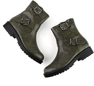 Allegra K Women's Christmas Buckle Strap Mid Calf Motorcycle Combat Boots