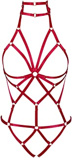 ChinaWomen's Punk Body Harness Lingerie Full Waist Jarretellegordels Set Strappy Frame Cage Rave Bras