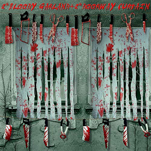 2 Pieces Bloody Door Curtain Decoration Doorway Curtain Creepy Cloth with Blood Prints 2 Pieces Bloody Weapons Garland Banner Butcher Knife Chainsaw Garland Prop Halloween Zombie Vampire Party Decor