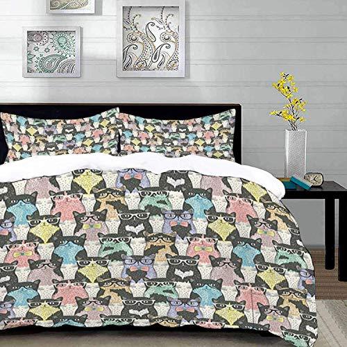 ropa de cama - Juego de funda nórdica, dibujos animados divertidos de gato para niños, diseño juguetón de hipster y gatos con gafas, multicolor, juego de funda nórdica de microfibra con 2 fundas de al