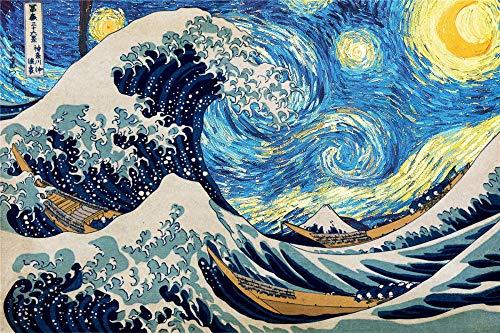 ZTCLXJ 120 Piezas Rompecabezas Jigsaw Puzzle De Madera para Infantiles Adolescentes Puzzle 120 Piezas Adultos Niños Art 10 X 8 Pulgada Pinturas Famosas Hokusai Y Van Gogh's Starry Sky Big Waves