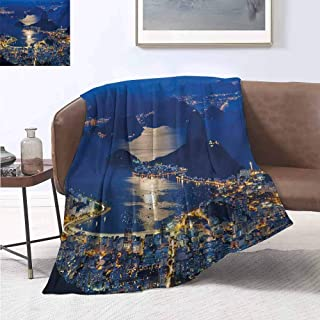 jecycleus Night Luxury Special Grade Blanket Aerial View of Mountain Sugar Loaf and Botafogo Rio de Janeiro Multi-Purpose use for Sofas etc. W55 by L55 Inch Violet Blue Marigold Pale Grey