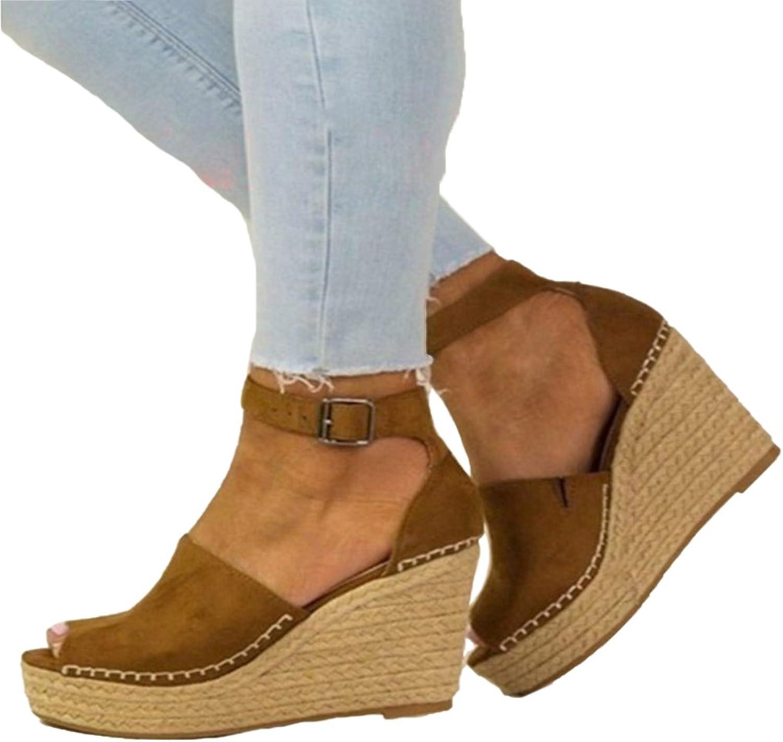 Genepeg Womens Sandals Summer Platform 8CM High Heels Peep Toe Cover Heel Wedges Pumps Camel