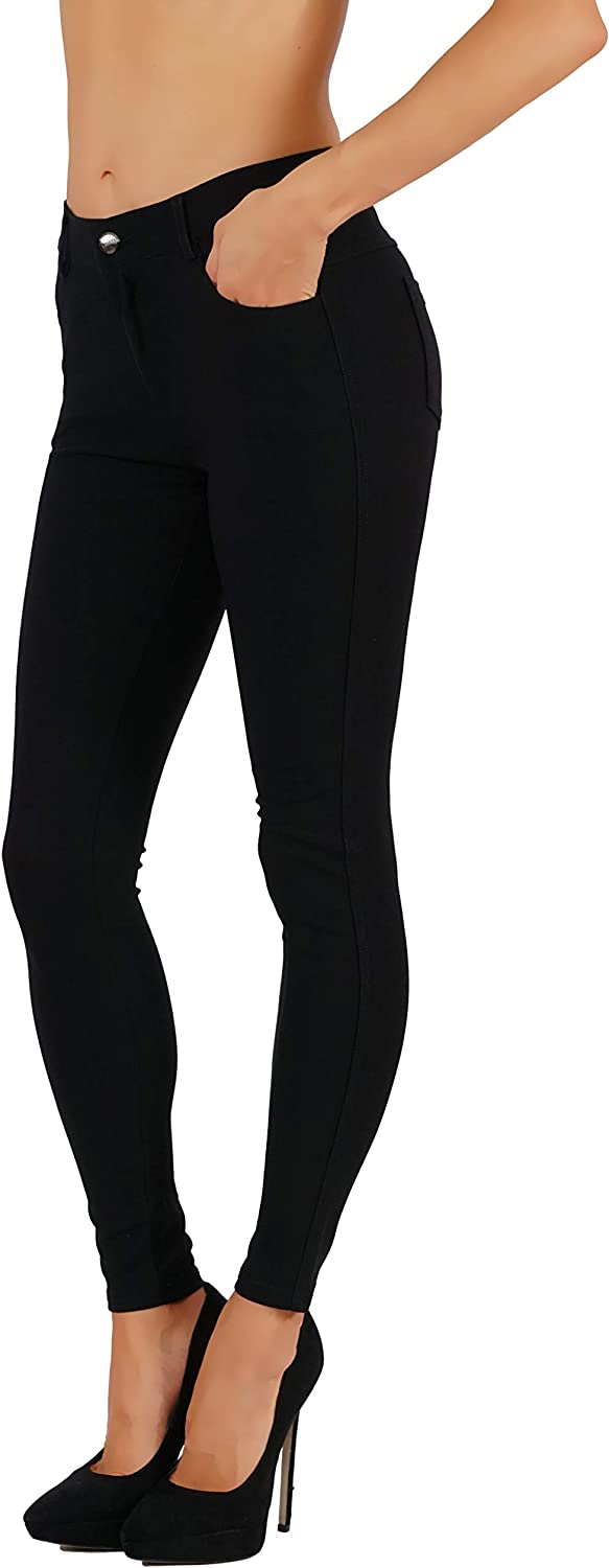 Fit Division Women's Jean Look Buttery Soft Jeggings Tights Slimming Full Lenght Mid Rise Ponte Knit Leggings Pants S-XXXL
