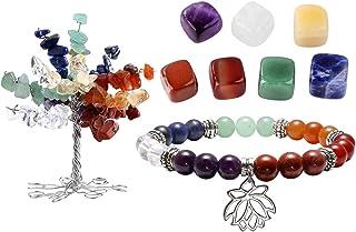 (7 chakra-Lotus) - QGEM 7 Chakra Gems Set,Money Tree+ Irregular Chakra Stones+ Chakra Brarcelet Lotus Pendant Reiki Healin...