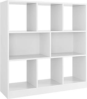 Homfa Meubles de Rangement Cube Étagère Bibliothèque Ouverte avec 8 Casiers pour Salon Bureau en Bois 97.5x30x100cm (Blanc)