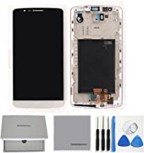 Full LCD Display Touch Screen Digitizer Assembly with Frame Replacement Part Compatible with Lg G3 D850 D851 D855 Vs985 (White)