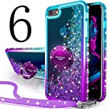 Silverback iPhone 6S Case, iPhone 6 Case, Moving Liquid Holographic Sparkle Glitter Case with Kickstand, Bling Diamond Bumper with Ring Protective Apple iPhone 6/6S Case for Girls Women -Purple
