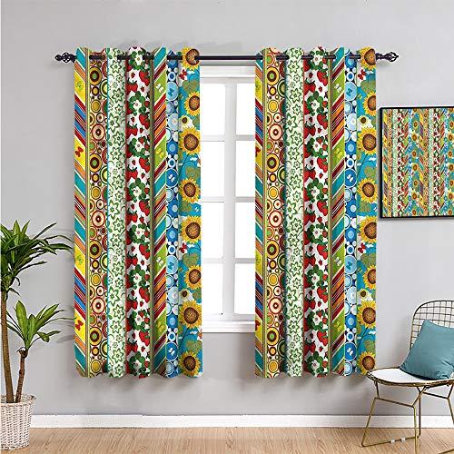 Xlcsomf Cortinas de rayas negras para dormitorio, cortinas de 213 cm de largo varios diseños de verano cortina de café de 132 cm de ancho x 214 cm de largo