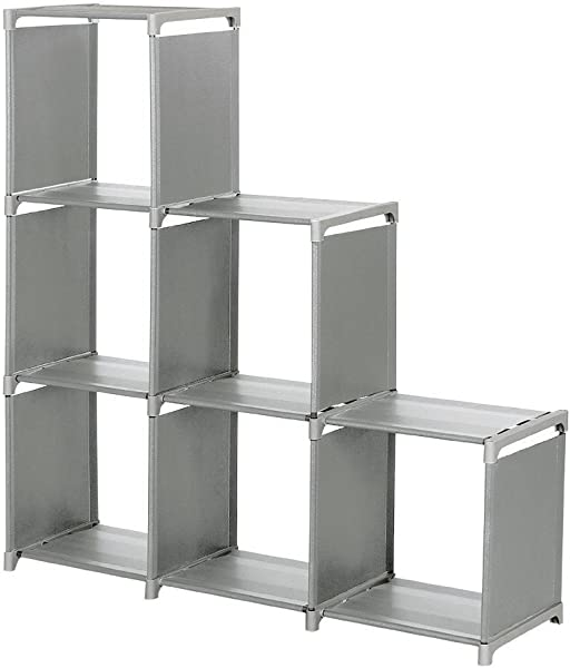 3 Tier 6 Cube Storage Closet Space Saving Cube Storage Cabinet Bookcase Grey