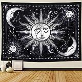 Tapiz de pared con diseño de soles y lunas en blanco y negro. Para colgar en la pared, tapiz místico como decoración artística para pared y habitación (dormitorio, sala de estar), 150 cm x 130 cm