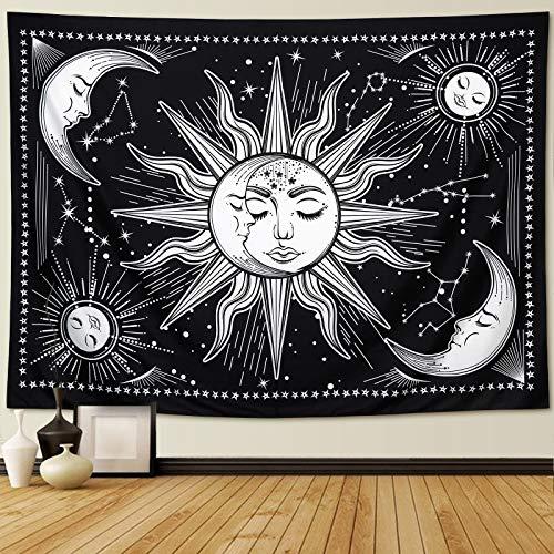 Wandteppich Sonne und Mond Psychedelic Wandtuch Wandbehang schwarz und weiß,mystischer Wandteppich als Wandkunst und Raumdekoration für Schlafzimmer,Wohnzimmer (M/150cmx130cm)