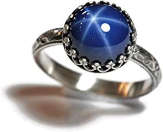 10mm Created Blue Star Sapphire Sterling Ring Symmetrical Flower Band Crown Bezel Size 7