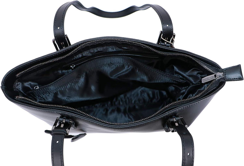 Hexagona Sac shopping A4 Icône Croûte de cuir de vachette Noir