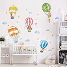 decalmile Muurstickers Dierlijke Hete Lucht Ballonnen Muurtattoo Olifant Giraffe Aap Wanddecoratie Baby Kinderkamer Slaapk...