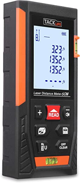 Tacklife HD60 Classic Laser Measure 196Ft M In Ft Mute Laser Distance Meter With 2 Bubble Levels Backlit LCD And Pythagorean Mode Measure Distance Area And Volume Carry Pouch And Battery Included