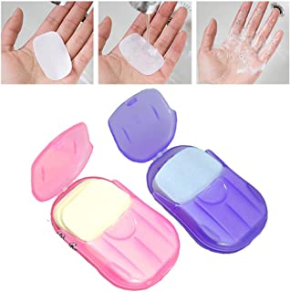ZHUOTOP 20Pcs/Set Disposable Boxed Soap Paper Mini Travel Sheets Foaming Camping Hiking Outdoors Random Color