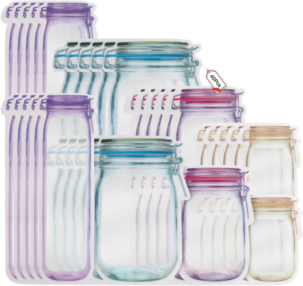 Bolsa de Botella Mason, Mason Jar Botellas Bolsas, Masón Bolsas Ziplock para Bocadillos, Bolsas Zipper para Bocadillos y Bolsas Reutilizable, Bolsas de Ahorro de Alimentos a Prueba de Fugas (40)